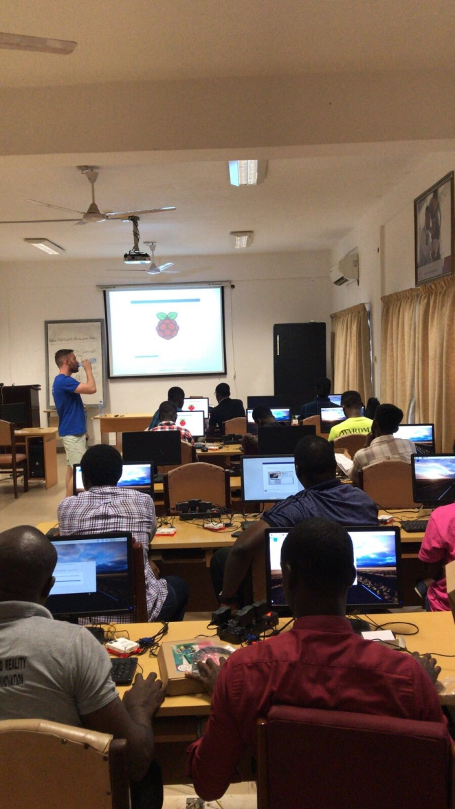 Alex leads a Raspbian installfest at UG Legon